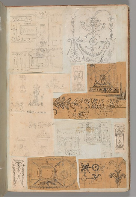 """Page from a Scrapbook containing Drawings and Several Prints of Architecture  Interiors  Furniture and Other Objects Poster Print by Workshop of Charles Percier (French  Paris 1764  """"1838 Paris) (18 x 24) - Item # MET706367"""