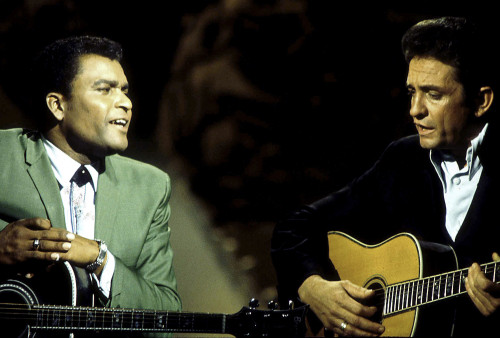 Johnny Cash and Charley Pride performing on stage Photo Print - Item # VARGLP349790