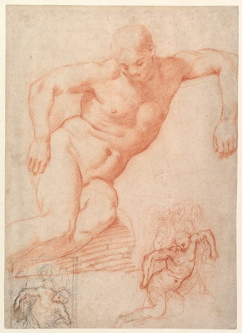 """Studies of the Dead Christ supported by an Angel  with subsidiary studies for the same composition Poster Print by Poppi (Francesco Morandini) (Italian  Poppi 1544  """"1597 Florence) (18 x 24) - Item # MET399145"""