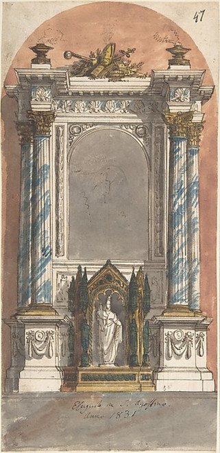 Design for an Altar with a Statue of the Virgin and Child. Poster Print by Anonymous  Italian  19th century (18 x 24) - Item # MET346387