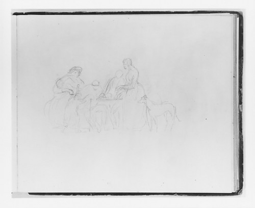 """Scene around a Table (from Sketchbook) Poster Print by Francis William Edmonds (American  Hudson  New York 1806  """"1863 Bronxville  New York) (18 x 24) - Item # MET14876"""