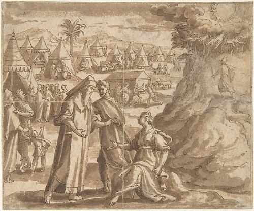"Aaron and Nadab Taking Leave of Elisheba   with the Israelites Camped before Mount Sinai and Moses Ascending the Mountain. Poster Print by Adam van Noort (Flemish  Antwerp 1561  ""1641 Antwerp) (18 x 24) - Item # MET347662"