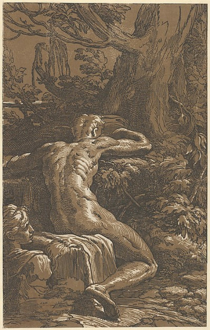 Narcissus (Man Seated Seen from the Back) Poster Print by Antonio da Trento (Italian  active Bologna  ca. 1527) (18 x 24) - Item # MET361903