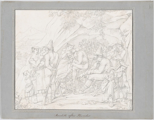 """A Group of Roman Bandits with Their Families and Companions after a Robbery Poster Print by Dietrich Wilhelm Lindau (German  Dresden 1799  """"1862 Rome) (18 x 24) - Item # MET629073"""
