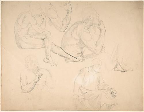 Studies of a Seated Bearded Man Poster Print by Eduard Julius Friedrich Bendemann (German  Berlin 1811–1889 Düsseldorf) (18 x 24) - Item # MET376790
