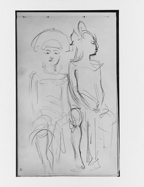 """Two Seated Javanese Dancers (from Sketchbook of Javanese Dancers) Poster Print by John Singer Sargent (American  Florence 1856  """"1925 London) (18 x 24) - Item # MET1851"""