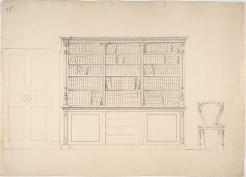 Design for a Large Bookcabinet  with a Door at Left and a Chair at Right Poster Print by Anonymous  British  19th century (18 x 24) - Item # MET386924