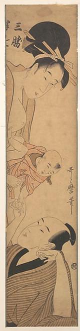 """Sankatsu and Hanshichi Poster Print by Kitagawa Utamaro (Japanese  1753  """"1806) (18 x 24) - Item # MET39647"""