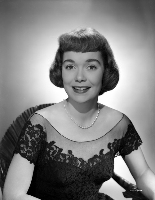 Jane Wyman Portrait in Black Linen Lace Shoulder Dress and Pearl Earrings with Pearl Necklace Photo Print - Item # VARCEL705908