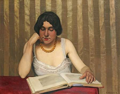 Reader With a Yellow Necklace Poster Print by Felix Vallotton - Item # VARPDX267477