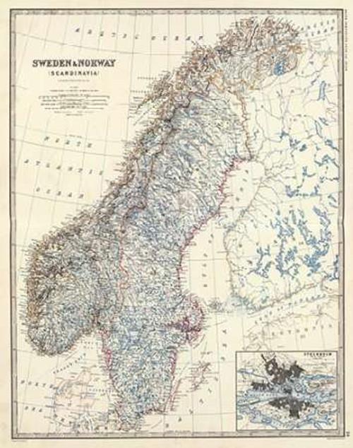 Sweden, Norway, 1861 Poster Print by Alexander Keith Johnston - Item # VARPDX295549