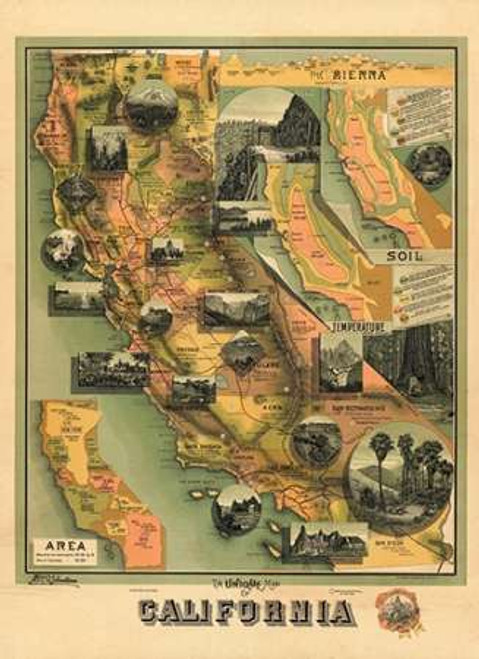 The Unique Map of California, 1885 Poster Print by E Johnstone - Item # VARPDX295119