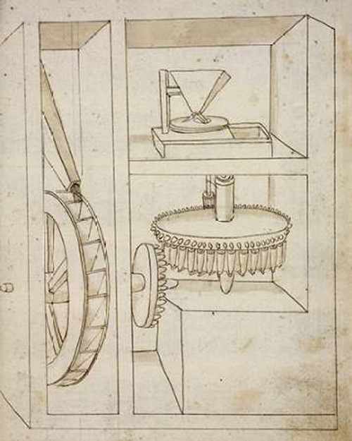 Folio 40: mill with overshot water wheel Poster Print by Francesco di Martini - Item # VARPDX455002