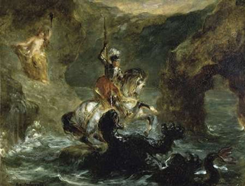 St. George Fighting the Dragon Poster Print by Eugene Delacroix - Item # VARPDX277376