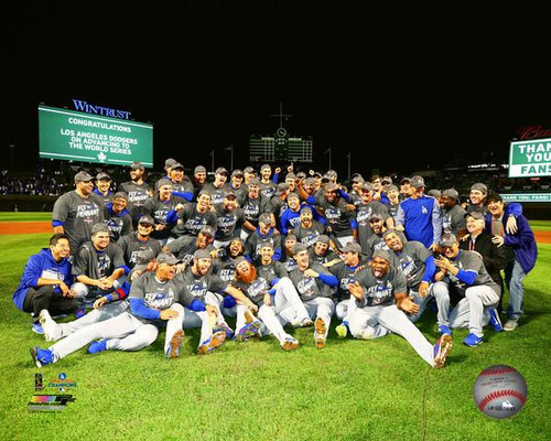 The Los Angeles Dodgers celebrate winning Game 5 of the 2017 National League Championship Series Photo Print - Item # VARPFSAAUQ063