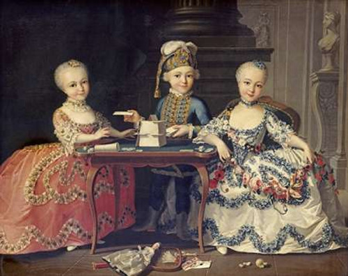 Boy In Blue Building a House of Cards, With Two Girls Poster Print by Francois-Hubert Drouais - Item # VARPDX264850