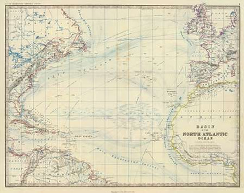 North Atlantic Ocean, 1861 Poster Print by Alexander Keith Johnston - Item # VARPDX295533