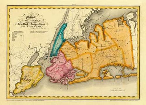 New York, Queens, Kings, Richmond counties, 1829 Poster Print by David Burr - Item # VARPDX294988