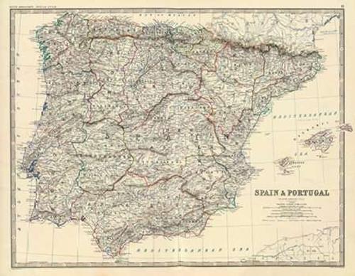 Spain, Portugal, 1861 Poster Print by Alexander Keith Johnston - Item # VARPDX295539