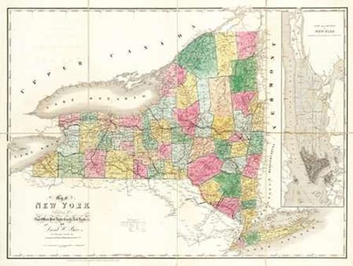 Map of New York, 1839 Poster Print by David Burr - Item # VARPDX294977