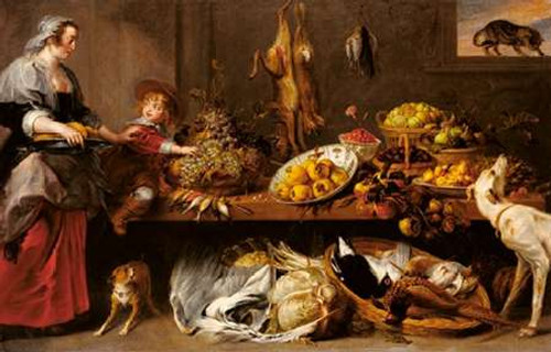 Kitchen Still Life with a Maid and Young Boy Poster Print by Frans Snyders - Item # VARPDX454797