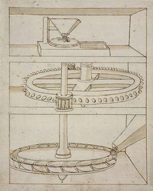 Folio 39: mill with horizontal water wheel Poster Print by Francesco di Martini - Item # VARPDX455003