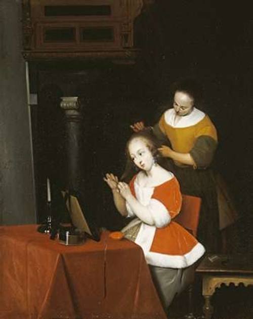 A Young Lady Having Her Hair Combed By a Maid Poster Print by Gerard Ter Borch - Item # VARPDX267379