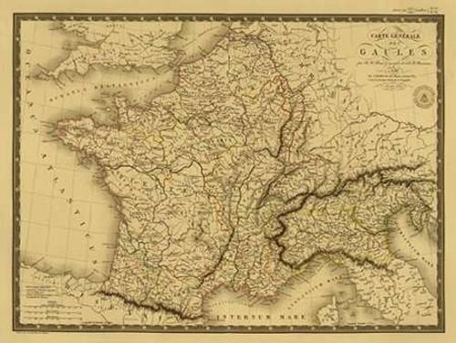 Carte generale des Gaules, 1821 - Tea Stained Poster Print by Adrien Hubert Brue - Item # VARPDX394049