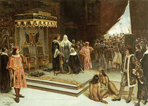 Columbus Before The Spanish Court After His Return From The Americas Poster Print by Francisco Garcia Santa Olalla - Item # VARPDX266952