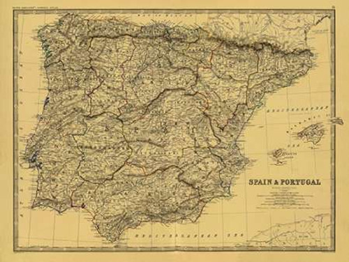 Spain, Portugal, 1861 - Tea Stained Poster Print by Alexander Keith Johnston - Item # VARPDX394050