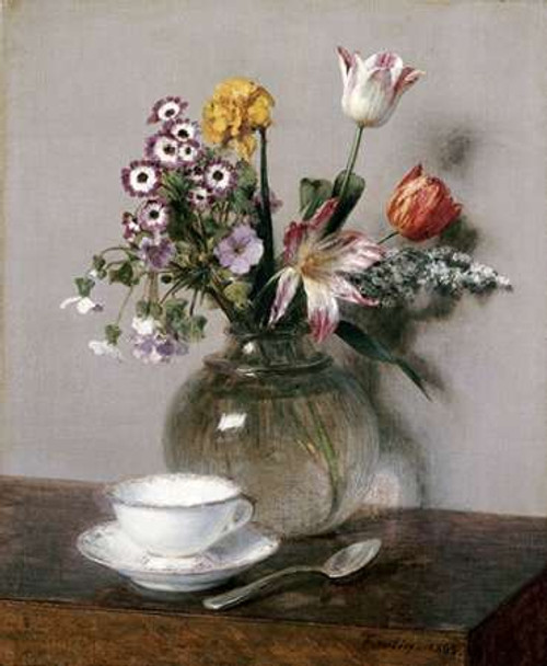 A Vase of Flowers With a Coffee Cup Poster Print by Henri Fantin Latour - Item # VARPDX266301