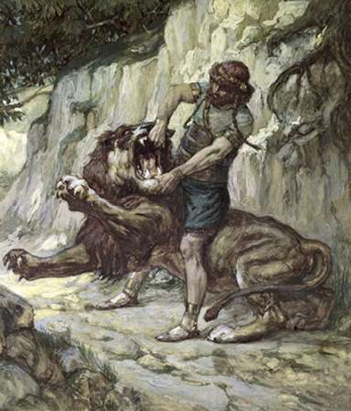 Samson Kills a Young Lion Poster Print by James Tissot - Item # VARPDX280493