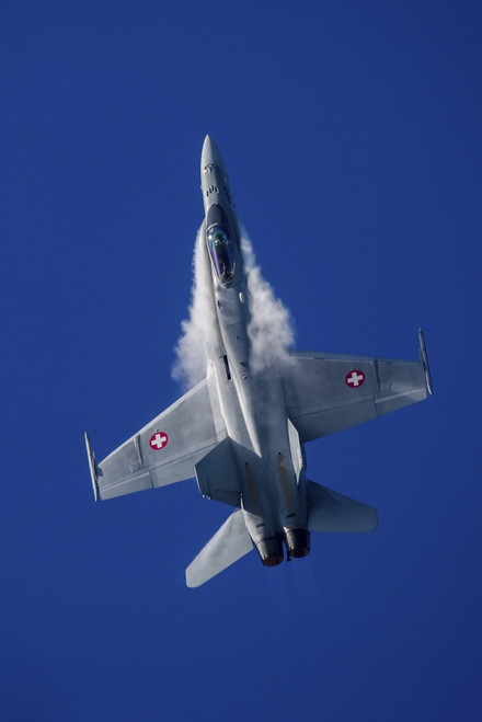 Swiss Air Force F-18C in a tight turn over Payerne, Switzerland Poster Print by Timm Ziegenthaler/Stocktrek Images - Item # VARPSTTZG100642M