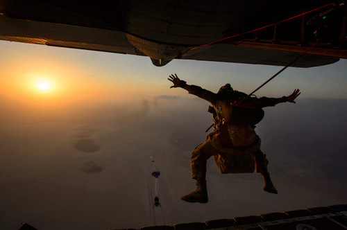 A US Air Force pararescueman jumps from an HC-130P/N Combat King Poster Print by Stocktrek Images - Item # VARPSTSTK108727M