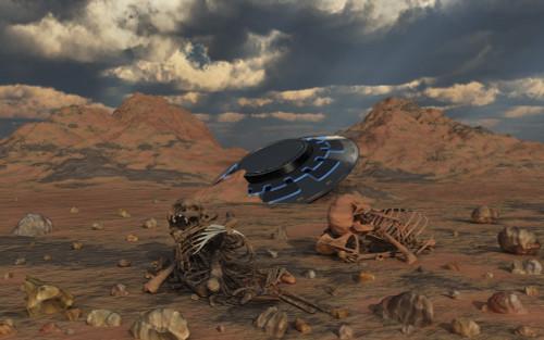 Dead humanoid remains lying near a crashed UFO site in a desert region Poster Print by Mark Stevenson/Stocktrek Images - Item # VARPSTMAS200139S