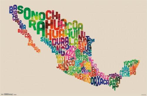 Mexico Map - Text Poster Print - Item # VARTIARP13491