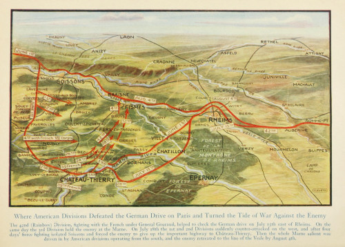 Map Harper's Pictorial World War 1920 Americans defeated German drive Poster Print - Item # VARPPHPD50035