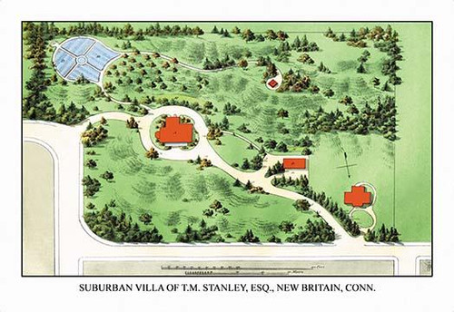 Aerial Views of landscape plans rendered by a landscape architect showing the house in its setting amidst plantings and trees Poster Print by J. Weidermann - Item # VARBLL0587087374