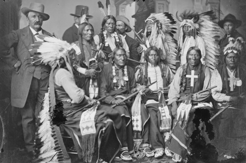 Sioux and Arrapahoe Indian Delegations. L to R Seated - Red Cloud, Big Road, Yellow Bear, Young Man Afraid of his Horses, Iron Crow. L to R Standing - Little Bigman, Little Wound, Three Bears, He Dog Poster Print - Item # VARBLL058746644L