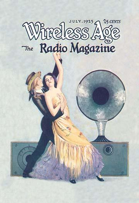 Radio Speaker plays for two Flamenco Dancers.  Magazine cover art from July, 1925.  One of the pioneering radio magazines, WIRELESS AGE ran under this title from 1913 to 1925. Poster Print by unknown - Item # VARBLL0587020954