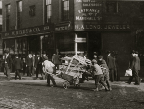 3 Boy Woodpickers Under Way lugging a cart full of firewood. Poster Print - Item # VARBLL058754787L