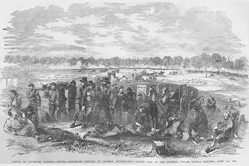 Battle of Pittsburg Landing Desperate Defense  General McClernand's Lines Poster Print by Frank  Leslie - Item # VARBLL0587324406