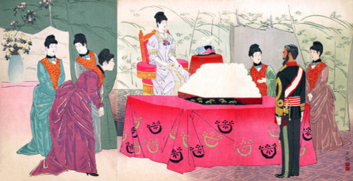 the Empress Visiting the General Staff Headquarters [to present a tray of bandages Poster Print by Kiyochchika - Item # VARBLL0587649704