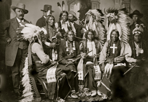 Sioux and Arapahoe Indian Delegations. L to R Seated - Red Cloud, Big Road, Yellow Bear, Young Man Afraid of his Horses, Iron Crow. L to R Standing - Little Bigman, Little Wound, Three Bears, He Dog Poster Print - Item # VARBLL058753681L