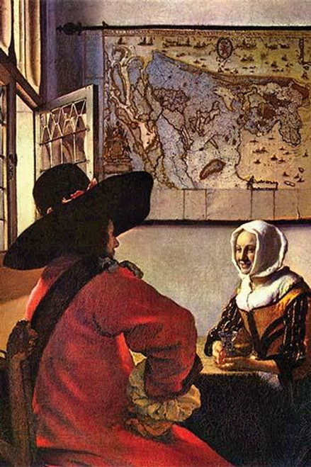 Cavalier sits at a table with a young woman who holds a carafe Poster Print by Johannes  Vermeer - Item # VARBLL0587263415