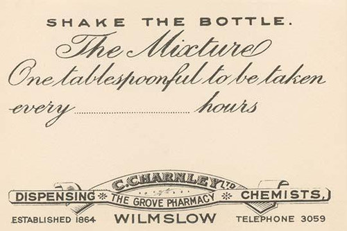 A 1920's pharmacy bottle label.  Many of these were quack cures and the main ingredient often was alcohol. Poster Print by Unknown - Item # VARBLL0587283335