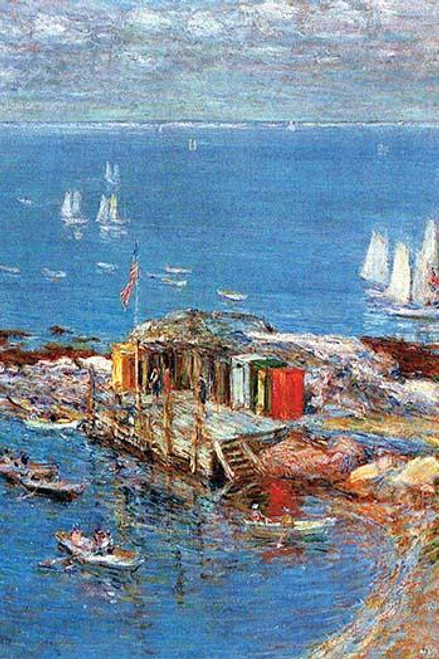 Pier with bathing booths juts out into the ocean with rowboats surrounding it. Poster Print by Frederick Childe Hassam - Item # VARBLL0587252235