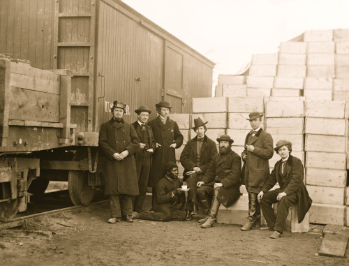 Aquia Creek Landing, Va. Clerks of the Commissary Depot by railroad car and packing cases Poster Print - Item # VARBLL058745123L