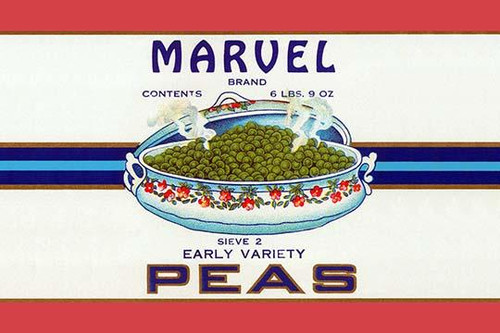 Original can label for Marvel Brand Early Variety Peas. Poster Print by unknown - Item # VARBLL058733472x