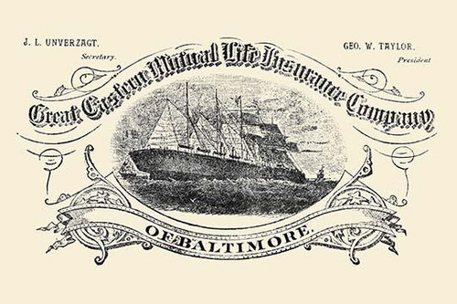 An insurance company's newspaper advertisement featuring a large combination steam and sail ship on a vignette. Poster Print by Unknown - Item # VARBLL0587226439